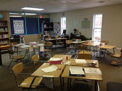 Students' desks are ready for work